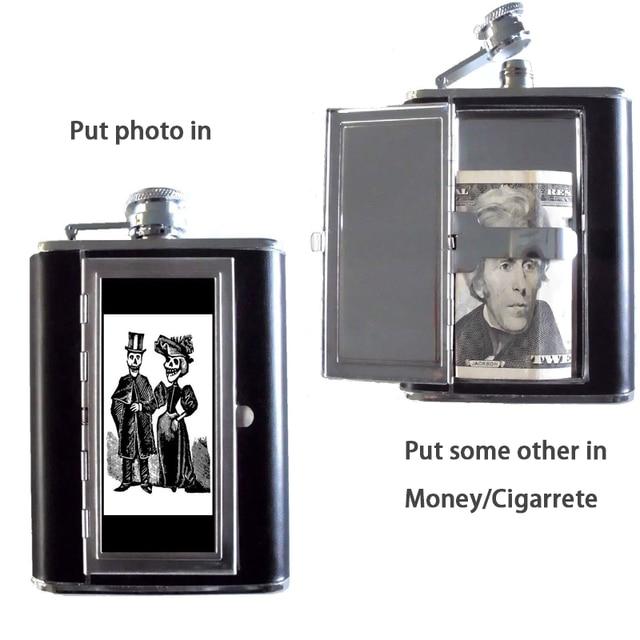 Flask Liquor and Funnel 5/6Oz Leak Proof 18/8 Pocket Hip Flask PU Leather Cover for Men Gift Car CIgarette Clip Case for Wine 8