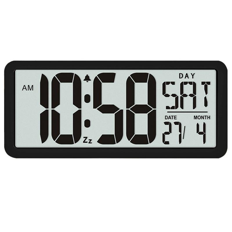 Square Wall Clock Series, 13.8inch Large Digital Jumbo Alarm Clock, LCD Display, Multi-Functional Upscale Office Decor Desk Blac