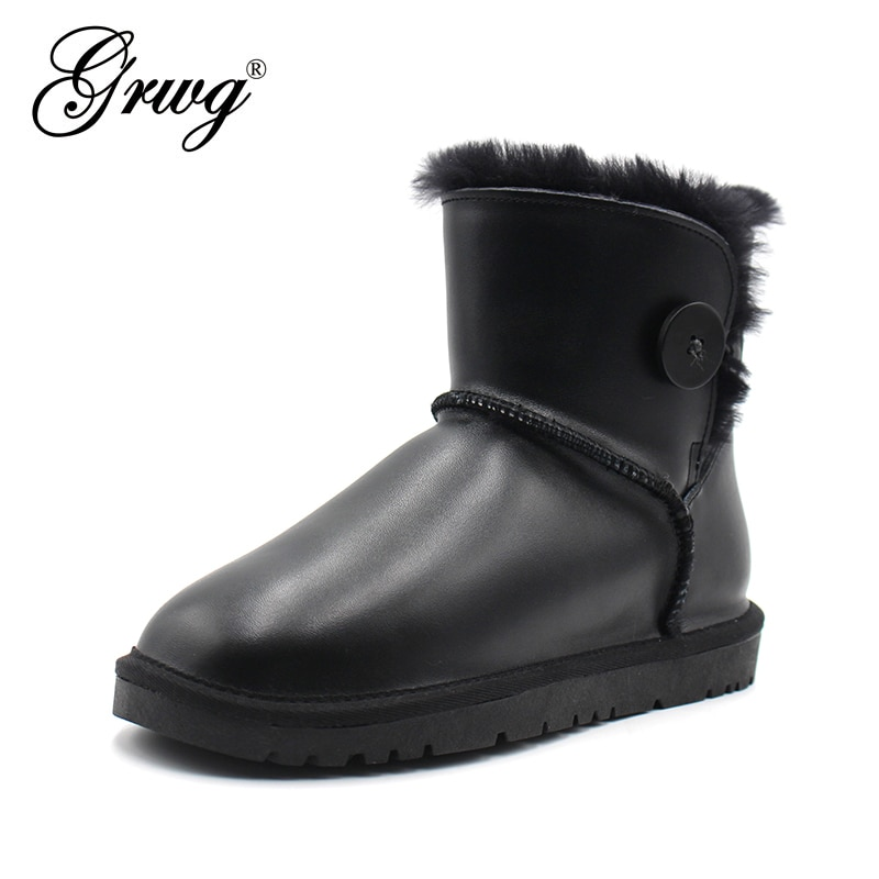 keaiqianjin woman crystal snow boots shearling winter genuine leather shoe golden silvery plus size 34 43 diamonds ankle boots GRWG Classic Men Ankle Genuine Leather Snow Boots Shearling Wool Fur Lined Winter Boots Keep Warm Shoes Waterproof Black
