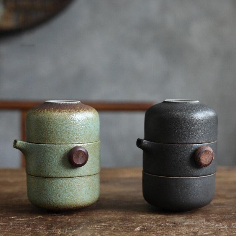 طقم شاي سيراميك للسفر إبريق شاي صيني الكونغ فو ، 1 وعاء 2 كوب صغير من البورسلين مع كيس محمول لنقع الشاي للخروج