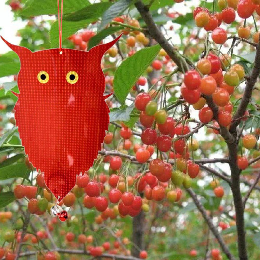 Suministros de Búho falso reflectante con láser para jardín, búho reflectante colgante espantapájaros, espantapájaros, palomas, repelente de pájaros con campanas M13