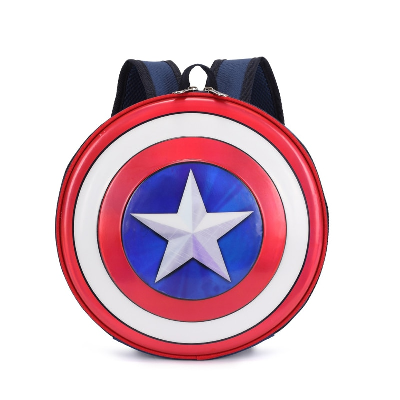 Captain America's Shield Backpack Cartoon Mini Schoolbag Round Travel Bag fashion waterproof Sports Pack
