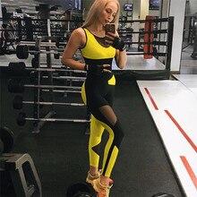 Combinaison de Yoga et Fitness pour femme jaune et noir, vêtement en maille, Patchwork, dos nu, pour entraînement sportif, ensemble dune pièce