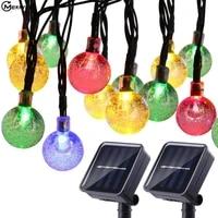 30 leds solar string light waterproof led solar bubble ball light string outdoor garden wedding decoration christmas holiday