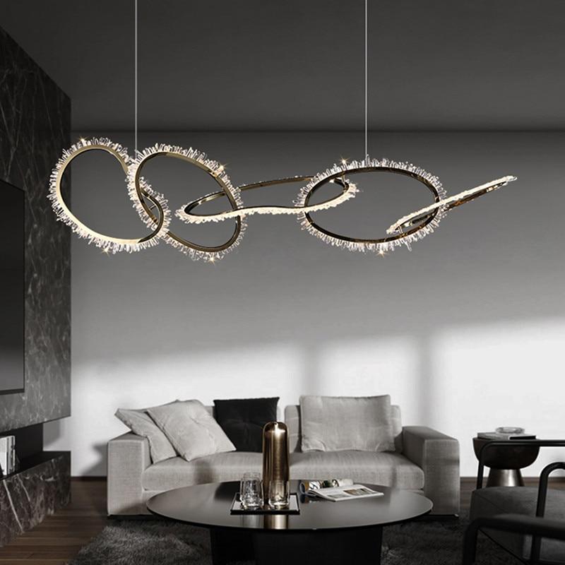 Nordic Novelty LED Chandelier Postmodern Natural Crystal hanging lamp Simple Light Luxury Living Room Dining Chandelier Lighting