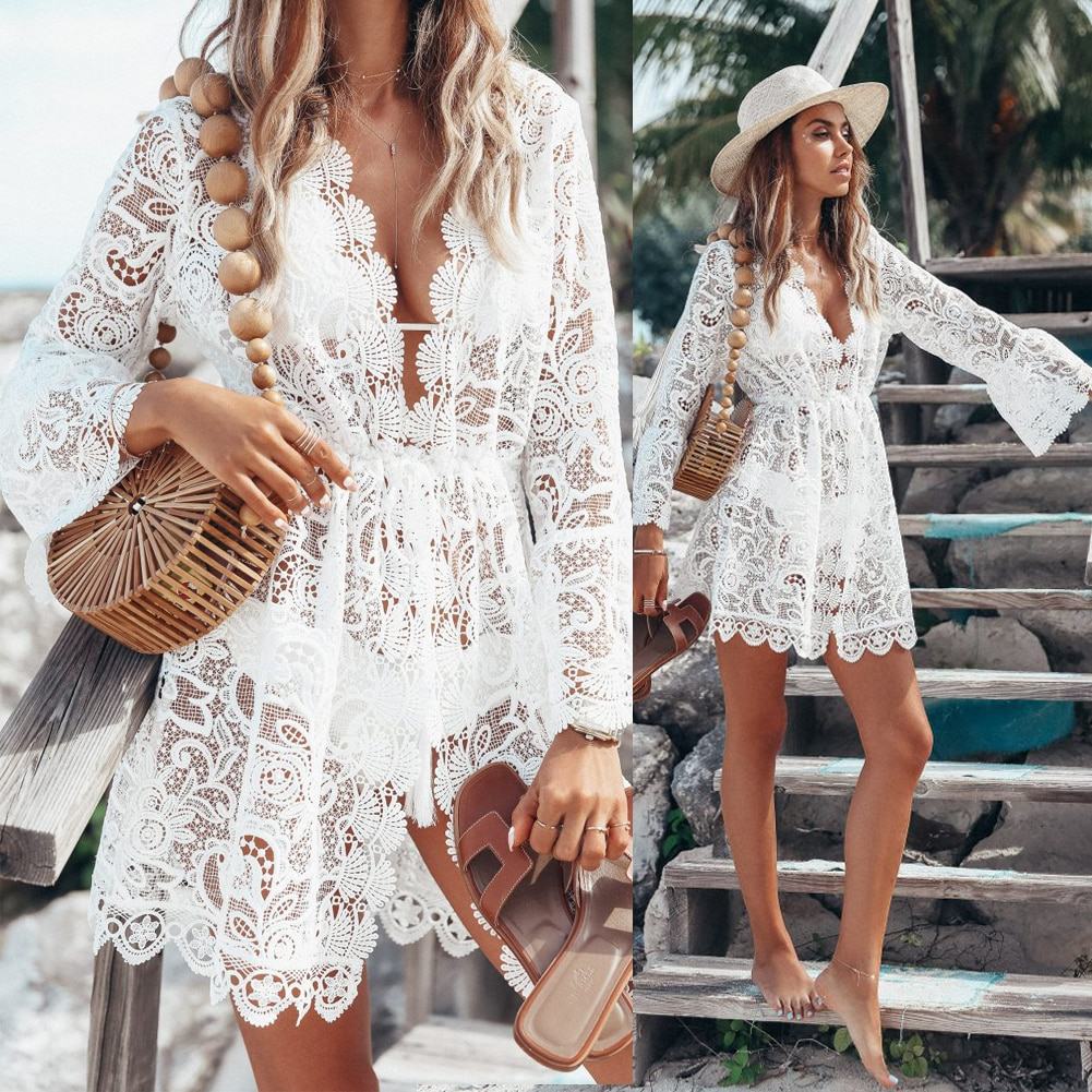 New Hot Summer Lace Croche Women sexy Crochet Bikini Cover Up Floral White Black Bathing Swimwear Beach Suit Summer Dress Tops 2016 white sexy women lace crochet tassel bikini swimwear cover up woman beach dress bathing suit beach swimwear cover up