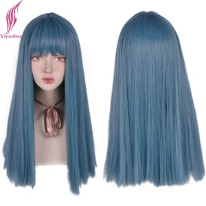 Yiyaobess Middle Part Long Blue Wig Straight Synthetic Natural Hair Brown Cosplay Wigs For Women High Temperature Fiber Perruque