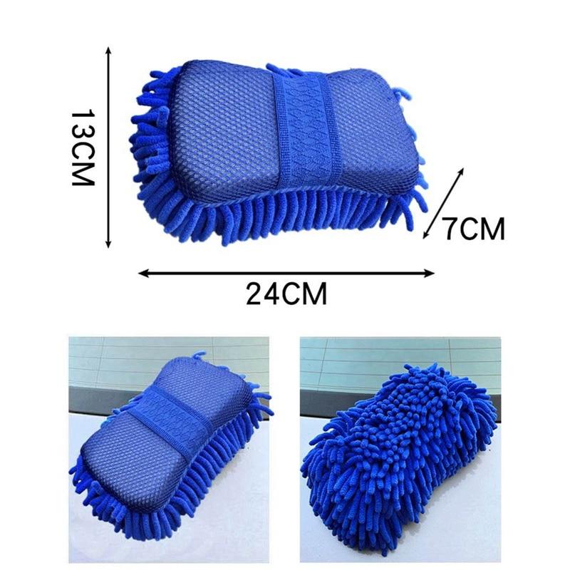 7Pcs Car Wash Cleaning Tool Kit Automotive Tire Wheel Brush Chenille Wash Sponge Microfiber Towel Cloth With Bag enlarge