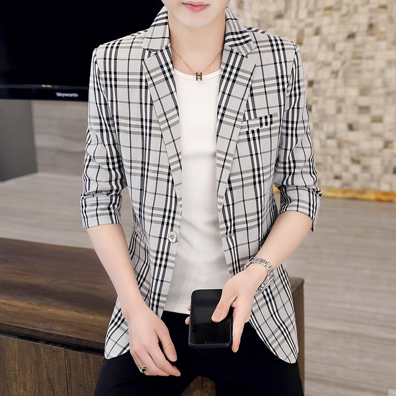 New small suit jacket men's single casual jacket slim fashion handsome students spring autumn suit men's spring wear