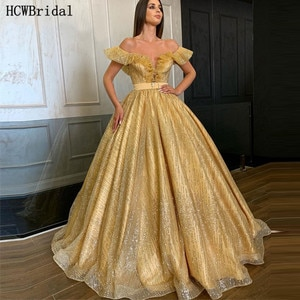 Glitter Golden Ball Gown Long Evening Dress Off The Shoulder Backless Sexy Wedding Party Dresses Customize Robe De Soiree