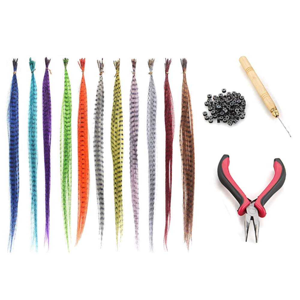 55pcs Multicolor Synthetic Hair Feathers For Hair Extensions DIY Micro Beads Hairpiece Kit Women Fea