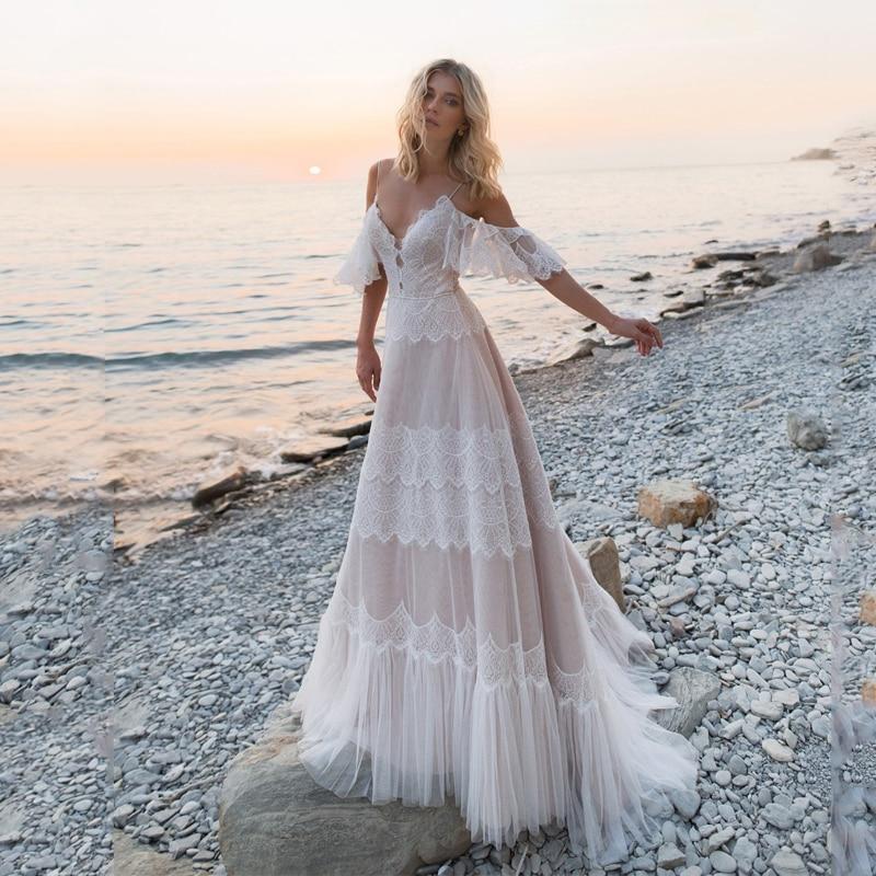 Богемное свадебное платье es 2020 с открытыми плечами, кружевной аппликацией, сексуальное пляжное ТРАПЕЦИЕВИДНОЕ свадебное платье с открытой ...