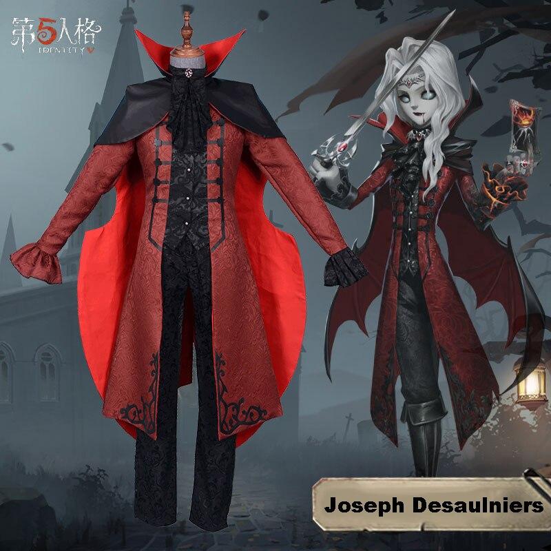Disfraz de Game Identity V, disfraz de fotógrafo Joseph Desaulniers, disfraz de Cosplay, uniformes de piel de espada sangrienta, trajes rojos