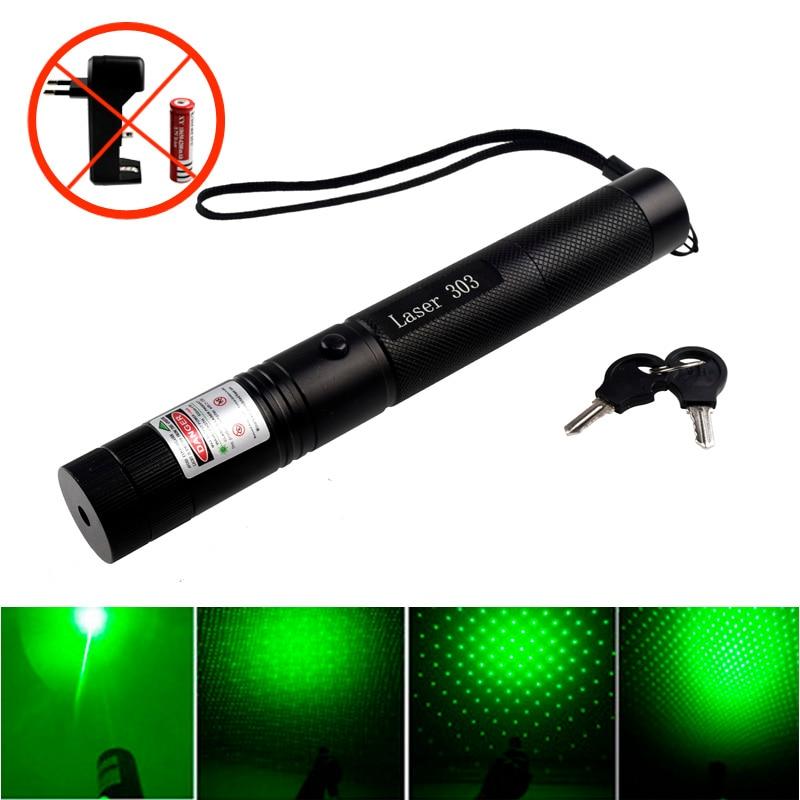 Powerful 303 532nm pencil green laser indicator flashlight external flashlight professional travel indicator shotgun laser