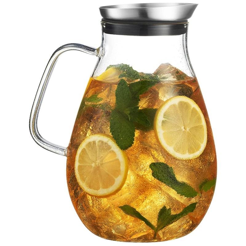 إبريق زجاجي AC86 -2500 مللي مع غطاء إبريق مشروبات جميل خفيف الوزن Carafe مع مقبض رائع للمشروبات الباردة والساخنة