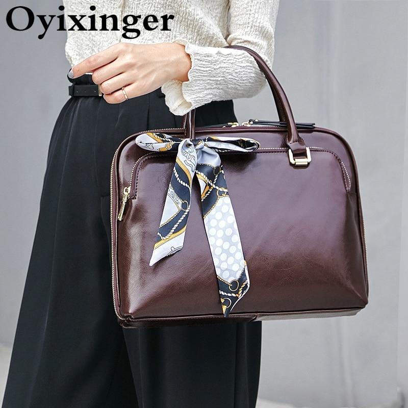 OYIXINGER جديد فاخر المرأة حقيبة جلد طبيعي الأعمال حقيبة الكتف السيدات مكتب محمول حقائب ل 13
