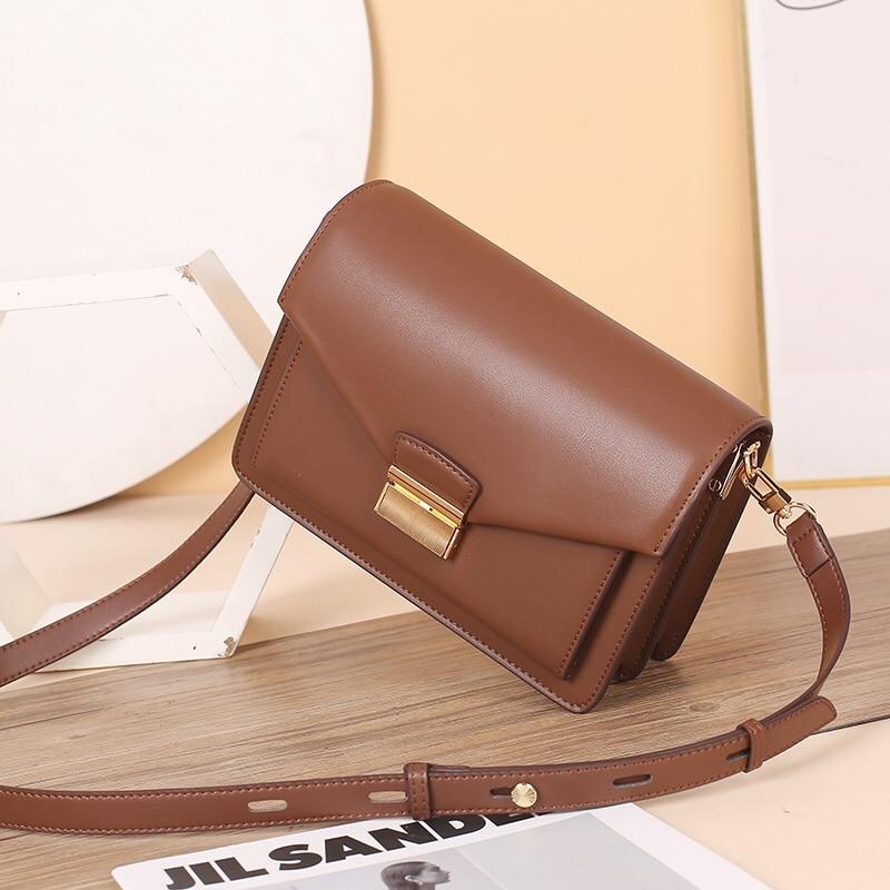 Bag female 2021 new tide leather handbag shoulder messenger bag female fashion lock organ bag Joker small square bag