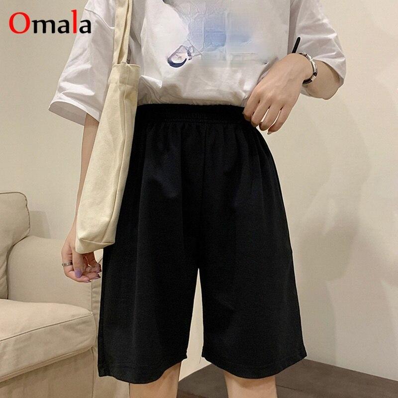 Korean pure cotton gray black women shorts fashion casual regular loose Big size straight solid elasticity jogger shorts female