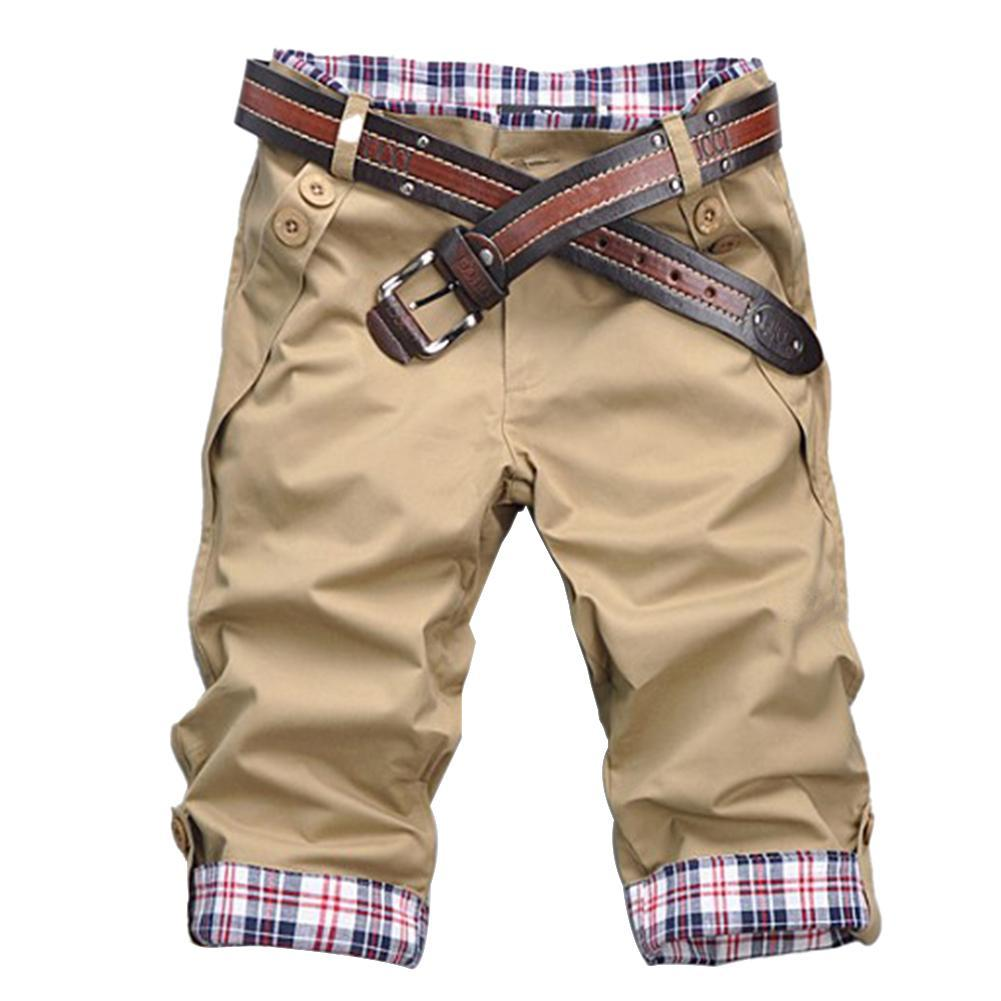 Шорты мужские размера плюс Повседневные в клетку, летние пляжные свободные штаны с карманами, на пуговицах, в стиле пэчворк