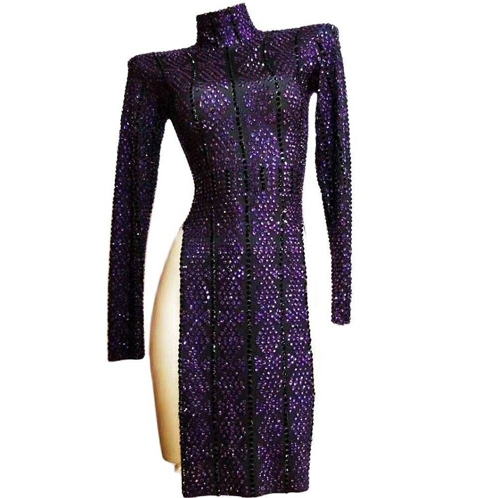 ساطع الماس فستان بكم طويل الأرجواني المرأة شق شيونغسام بلينغ المرحلة تظهر ملهى ليلي ملابس الرقص عيد ميلاد حفلة موسيقية ازياء