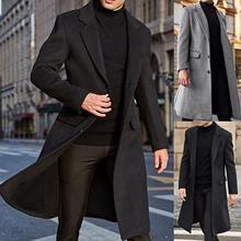 Winter Men Long Sleeve Buttons Jacket Overcoat Mid-length Trench Coat Jacket