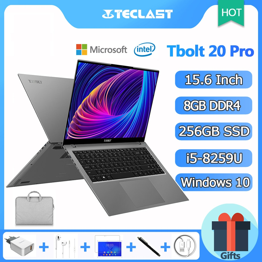 Review 15.6 Inch Laptop Teclast Tbolt 20 Pro Notebook Windows 10 Intel i5-8259U 3.8GHz Turbo Boost 4 Cores 8GB DDR4 256GB SSD Gaming