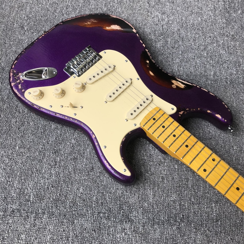 stock. Metal purple makes old electric guitar, color, real picture, maple finger board, free of freight enlarge