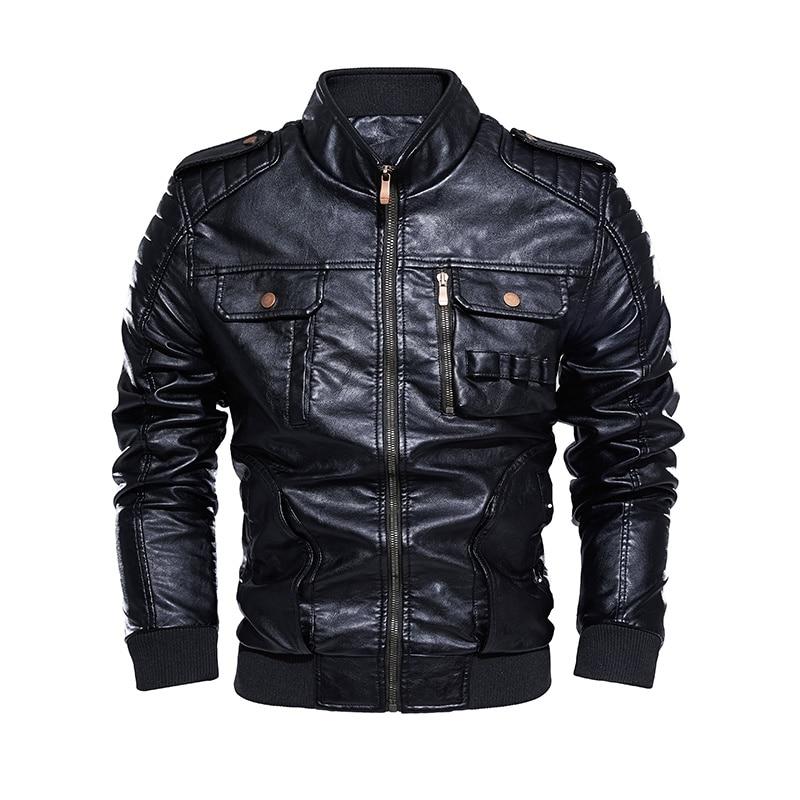 Мужская куртка-бомбер из искусственной кожи, мотоциклетная куртка-бомбер в стиле ретро, флисовая куртка из искусственной кожи, уличная одеж...