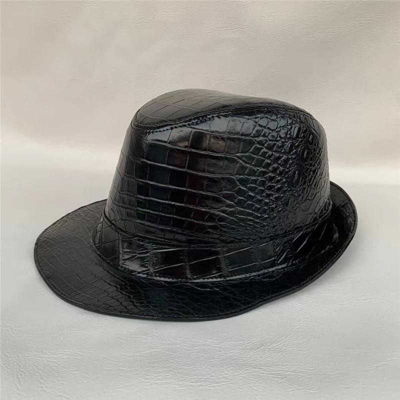 قبعة رجالية من جلد التمساح ، قبعة للجنسين من جلد التمساح الطبيعي ، دائري ، ساحر ، Fedoras