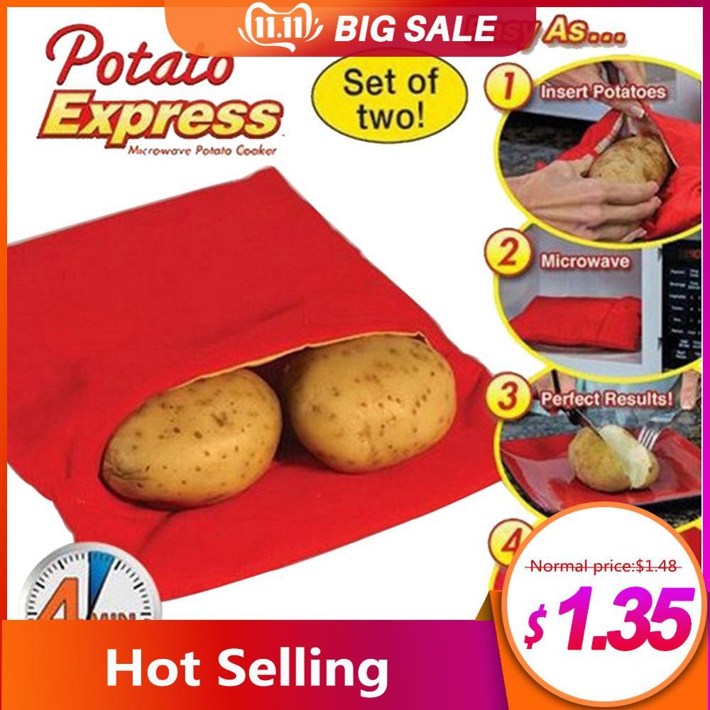 Bolsa para cocinar roja lavable, bolsa para asar lavable, bolsa para cocinar patatas en microondas, bolsillo para patatas de cocción rápida, fácil de cocinar, utensilio de cocina