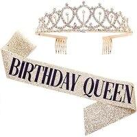 satin sash crown happy birthday party anniversary decor hair accessories decoration birthday girl bachelorette party