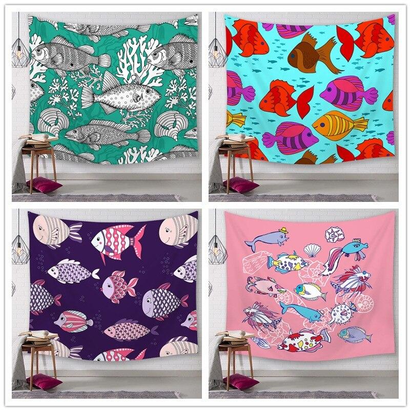 الألوان المائية البحرية الأسماك سلسلة الطباعة الرقمية نسيج نسيج الشاطئ منشفة مفرش المائدة خلفية القماش السرير معلقة القماش
