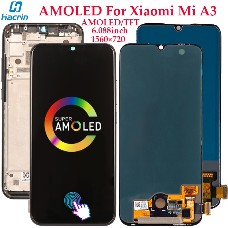 Display For Xiaomi Mi A3 LCD Display Touch Screen Digitizer Assembly Replacement For Xiaomi Mi A3 AMOLED Screen With Fingerprint amoled lcd display for xiaomi mi 9t display with frame