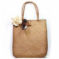 Пляжная сумка для женщин, плетеный соломенный саквояж ручной работы, вместительный богемный тоут на плечо