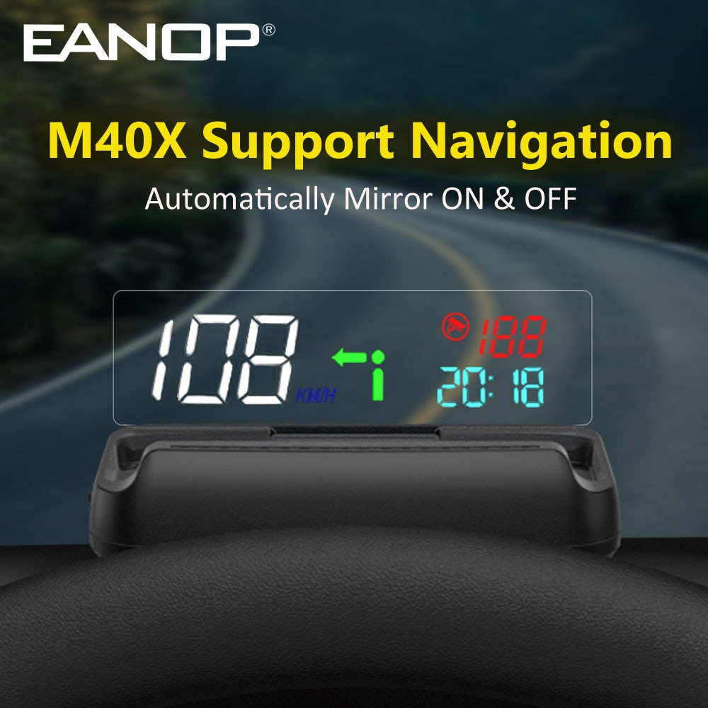 EANOP HUD M40X  OBDII Head Up Display OBD2 Trip Computer Speedometer RPM Speed Projector Oil consumption Support Navigation App