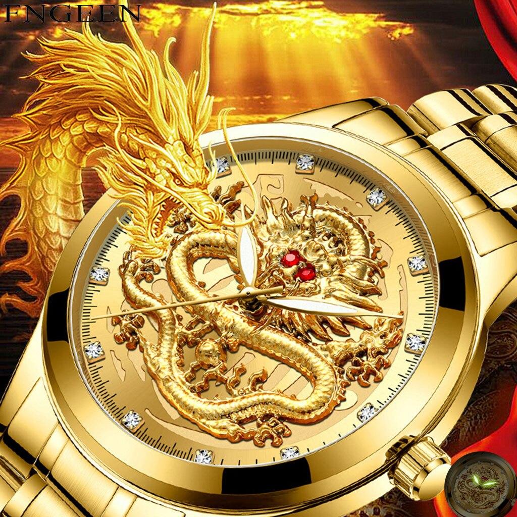 Relojes Para Hombre de marca superior de lujo en relieve diamante cara de dragón reloj de cuarzo resistente al agua para hombre Relogio Masculino #5