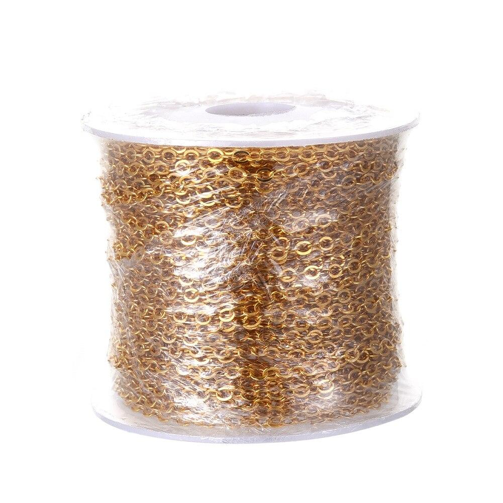 Cadena ovalada de cobre dorado para hacer joyas collar de latón para...