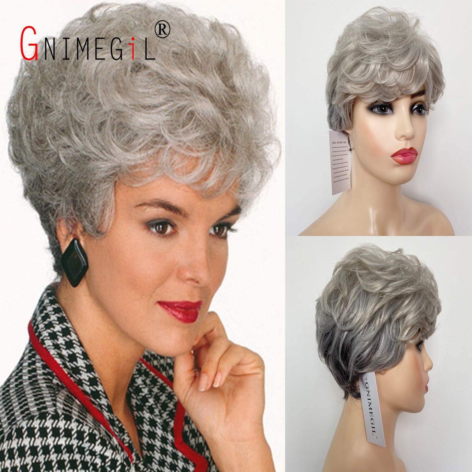GNIMEGIL Synthetic Short Curly Hair Womens Costume Party Wigs Gifts Silver Grey Mommy Wig Old Lady Wig