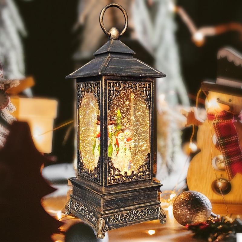 Christmas Retro Small Oil Lamp Night Light Snowman Christmas Tree Snowflake Crystal Wind Lantern Music Box Bronze Boat Lights enlarge