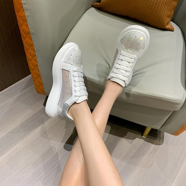 AIYUQI Sneakers Shoes Women White 2021 Summer New Breathable Rhinestone Women Shoes Casual Korean Fashion Shoes Women 6