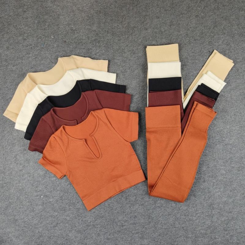 5 قطعة بدلات رياضية للنساء سلس اليوغا مجموعة تجريب ملابس رياضية الصالة الرياضية ملابس اللياقة البدنية المحاصيل عالية الخصر اللباس الداخلي