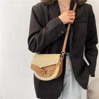 rattan bag 2021 summer beach bag new mini one shoulder handbag womens chain slanted saddle bag