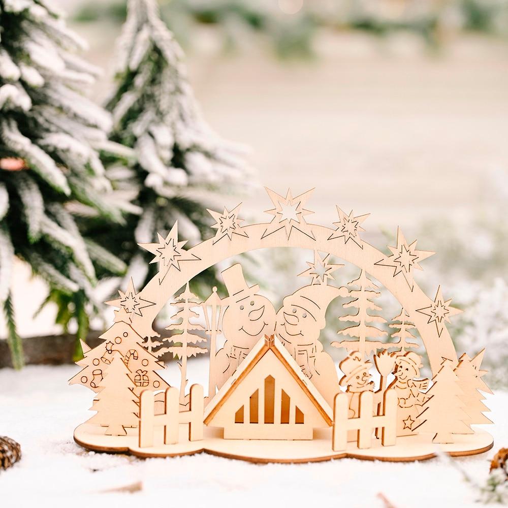 Natal mesa diy ornamento de madeira boneco de neve 2020 ano novo natal decorações do feriado para casa navidad noel suprimentos de natal #25