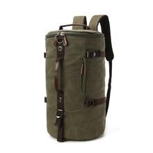 Cylindrical canvas handbag large capacity canvass retro three-purpose men's bag casual business trav
