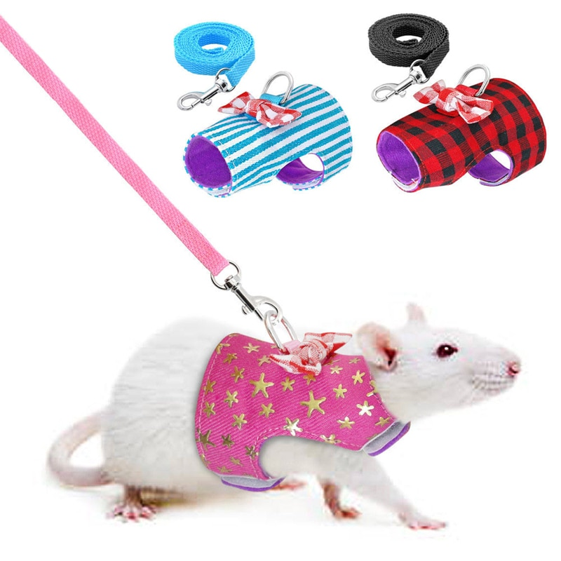 Pequeño arnés de conejo para mascotas y conjunto de correa para hurón conejitos hámster cachorro Bowknot arnés de correa pectoral para mascotas