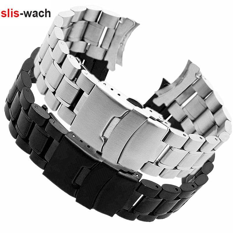 Acessórios de relógio banda adequado para seiko rolex tissot pulseira de relógio aço sólido duplo fivela de segurança pulseira 18 20 22 24mm