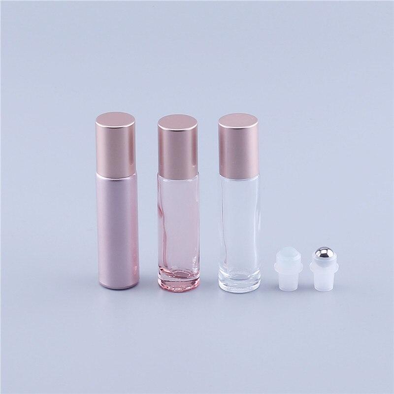500 قطعة 10 مللي اللون الوردي سميكة الزجاج لفة على الضروري النفط فارغة زجاجة عطر الرول الكرة زجاجة للسفر