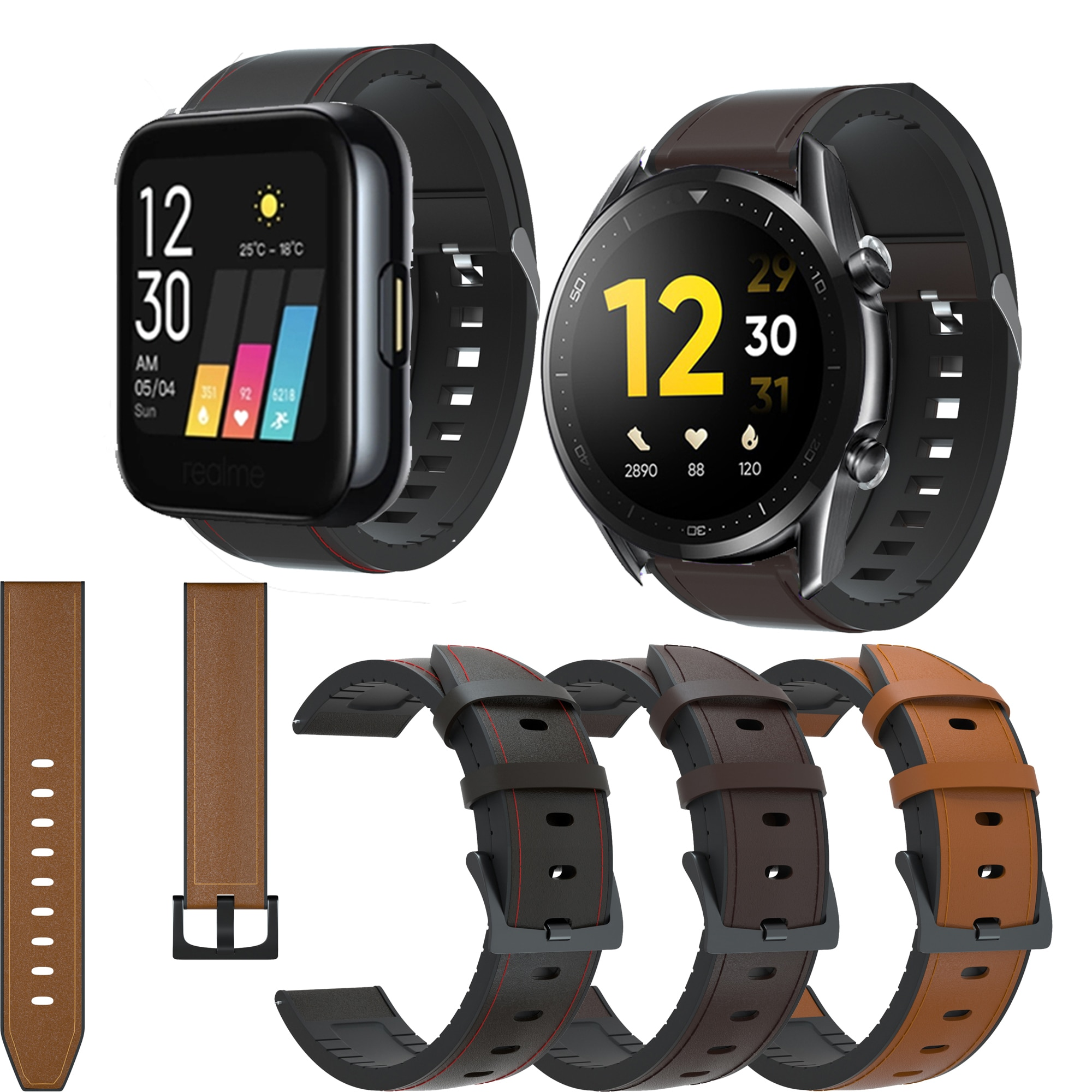 yayuu 22mm universal top quality vertical nylon watchband sports strap adjustable wristband replacement smart watch straps 20 22mm Leather Watchband for Realme Watch S Smart Watch Strap Sport Bracelet Replacement Band for Realme Watch Wristband correa
