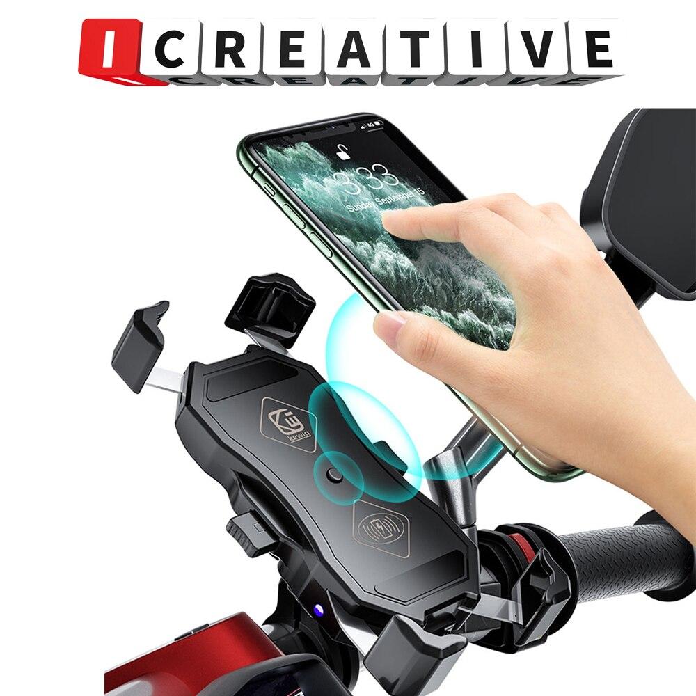 ICREATIVE USB دراجة نارية المقود الهاتف اللاسلكي شحن حامل هاتف دراجة نارية ل 3.5-6.5 بوصة الهاتف دراجة الملحقات
