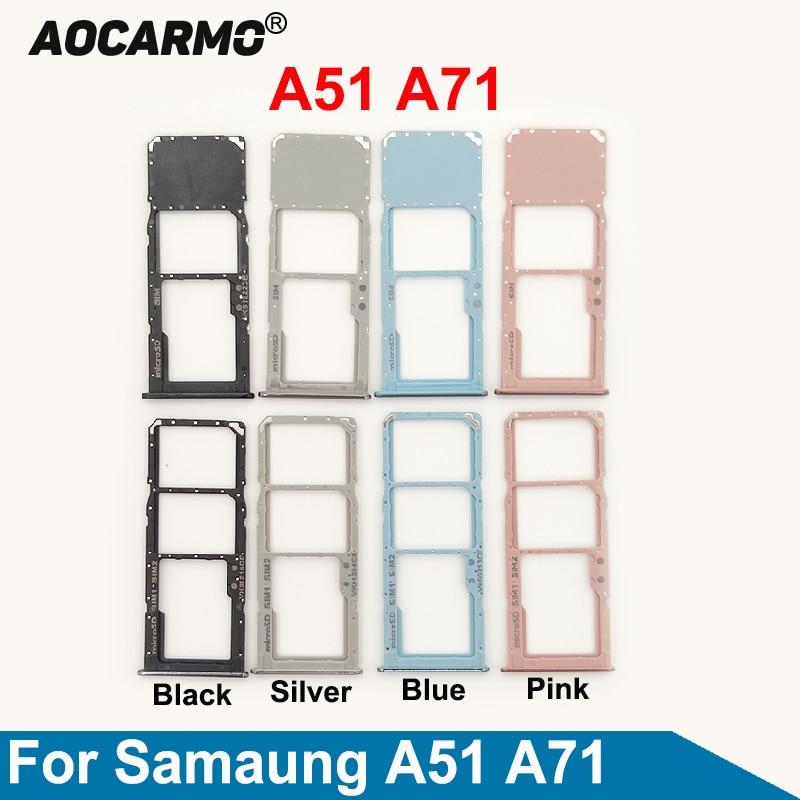 Aocarmo For Samsung Galaxy A51 A71 A515F SM-A7160 SIM Card Dual & Single Sim Card Tray Slot Holder R